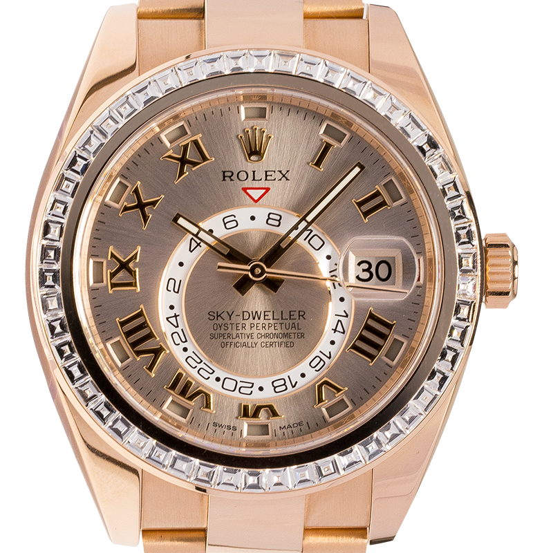 Rolex Sky-Dweller 18K Everose Gold Watch Sundust Dial 326935 Diamond Bezel