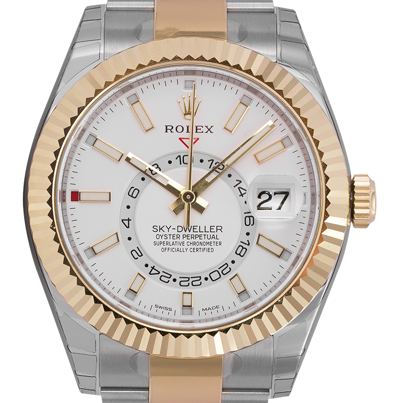 Rolex Sky-Dweller Steel & Yellow Gold White/Index Markers Dial 326933