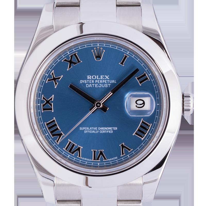 Rolex Datejust II Steel Watch Blue/Roman Dial 116300