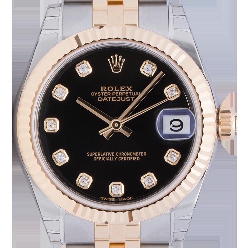 Rolex DateJust 31mm Steel & Yellow Gold Black/Diamond Dial Jubilee 178273