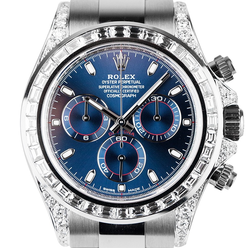 Rolex Cosmograph Daytona 18ct White Gold Diamond Set with Blue Racing Dial 116509