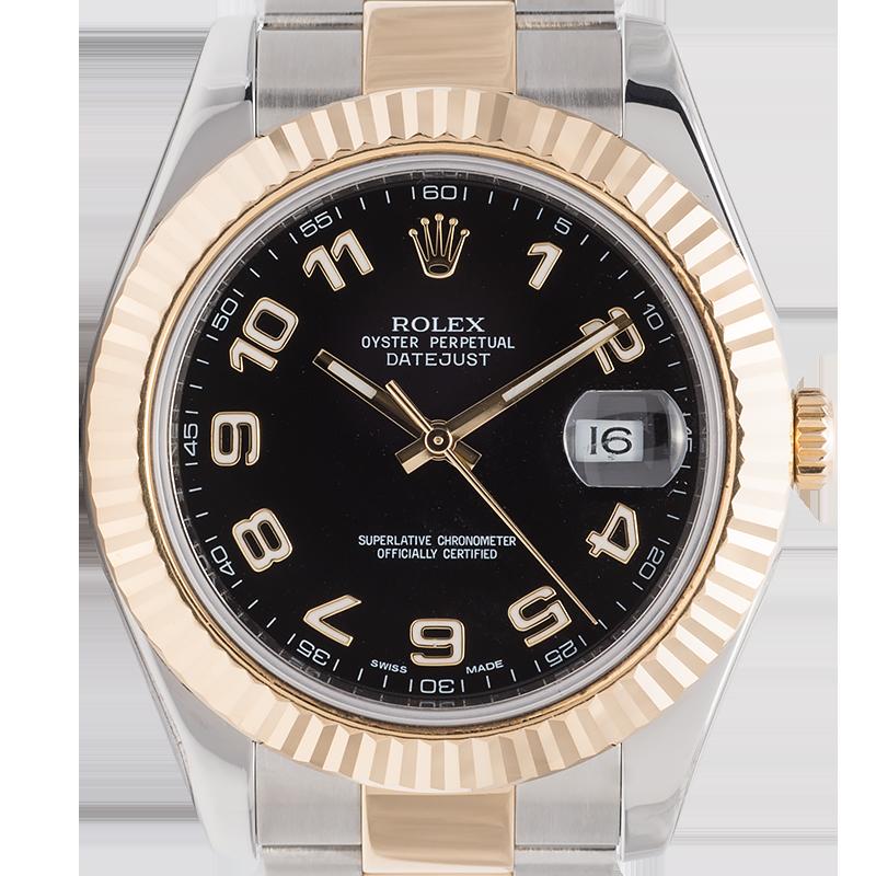 Rolex DateJust II 41mm Steel/Gold Black/Arabic Oyster 116333