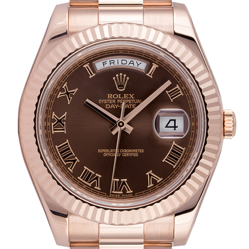 Rolex Day-Date 41mm 18ct Everose Gold Chocolate/Roman Dial 218235