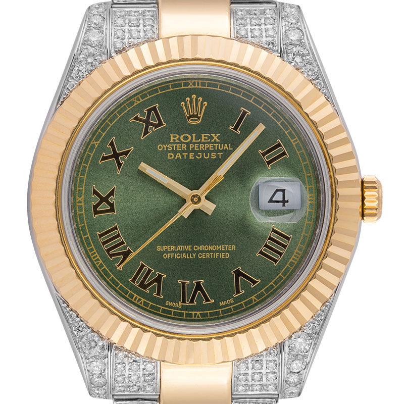 Rolex Datejust 41 Steel and 18ct Yellow Gold Diamond Set with Green Custom Dial 116333
