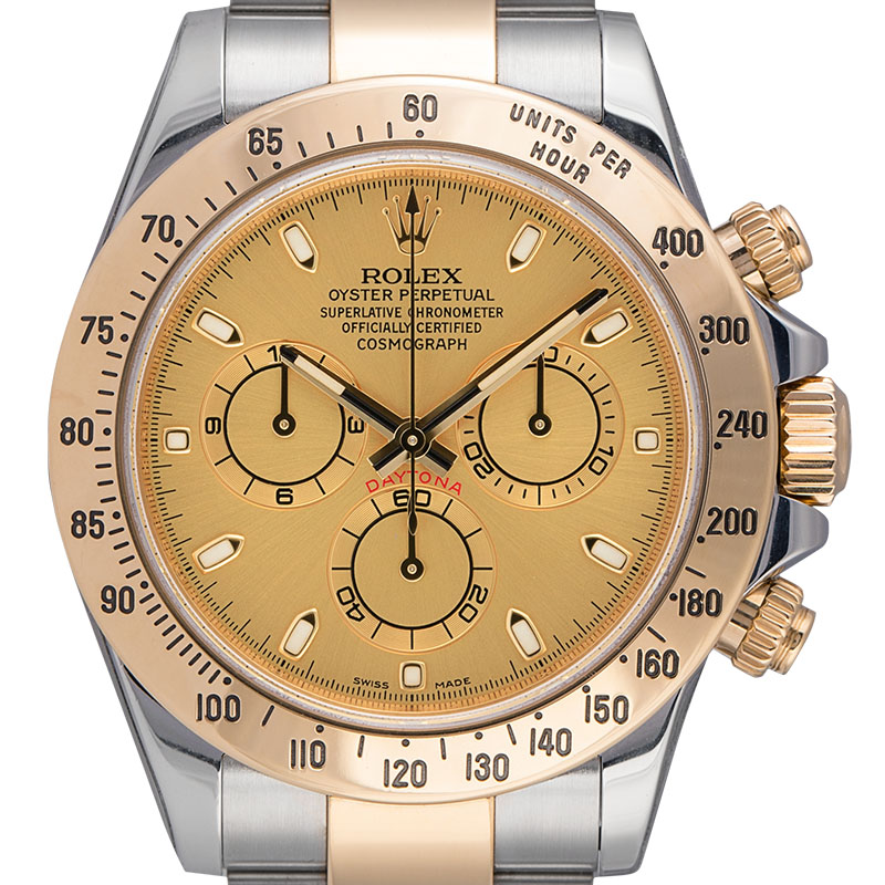 Rolex Cosmograph Daytona Steel and 18ct Yellow Gold Champagne/Index 116523