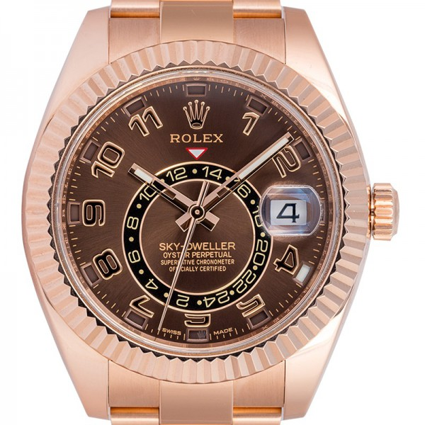Rolex Sky-Dweller 18ct Everose Gold with Chocolate/Arab Dial 326935