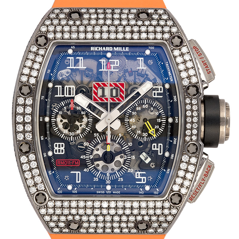 Richard Mille RM 11 White Gold with Custom Diamond Set Bezel