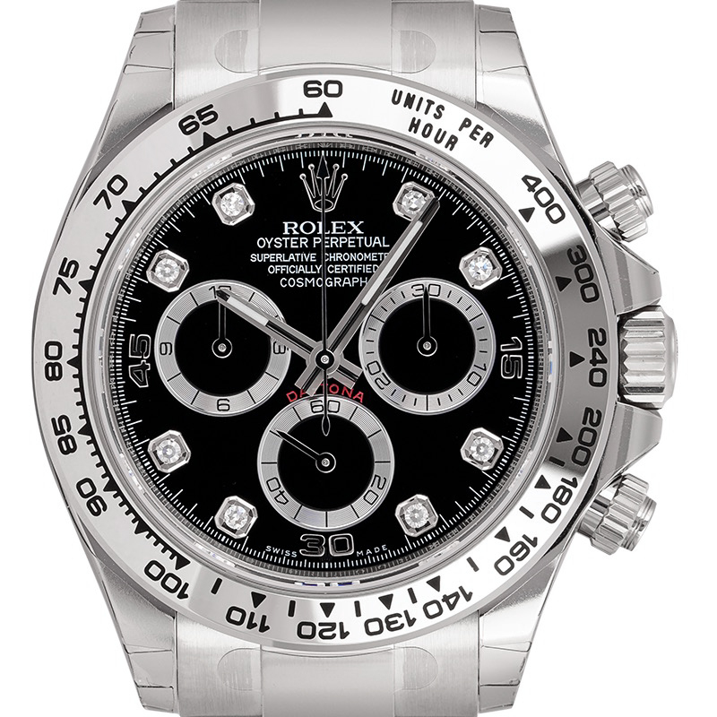 Rolex Daytona 18ct White Gold Black/Diamonds 116509