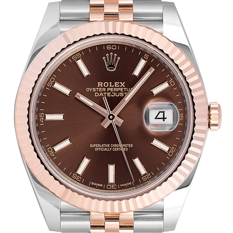 Rolex Datejust 41 Steel and 18ct Everose Gold Chocolate/Index Dial Jubilee 126331