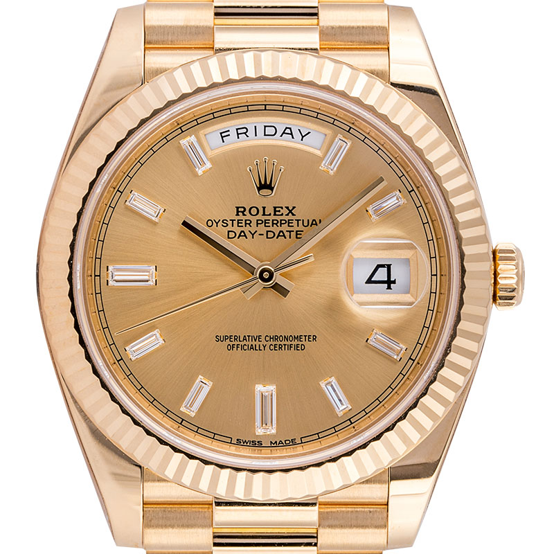 Rolex Day-Date 40 18ct Yellow Gold Champagne/Diamonds 228238