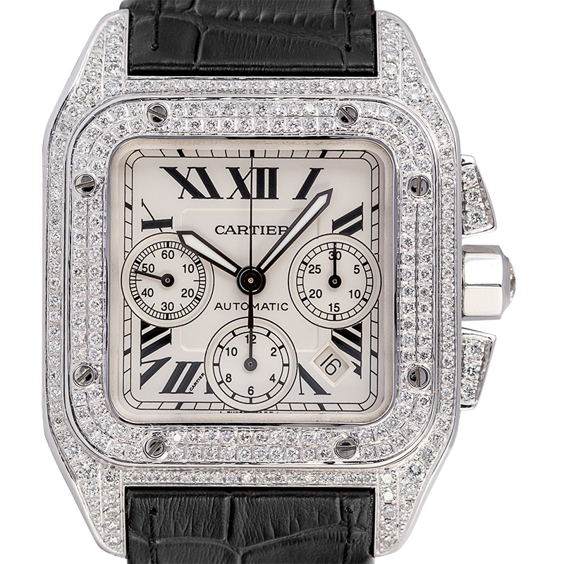 Cartier Santos 100 XL Chronograph Custom Diamond Set Black Strap W20090X8