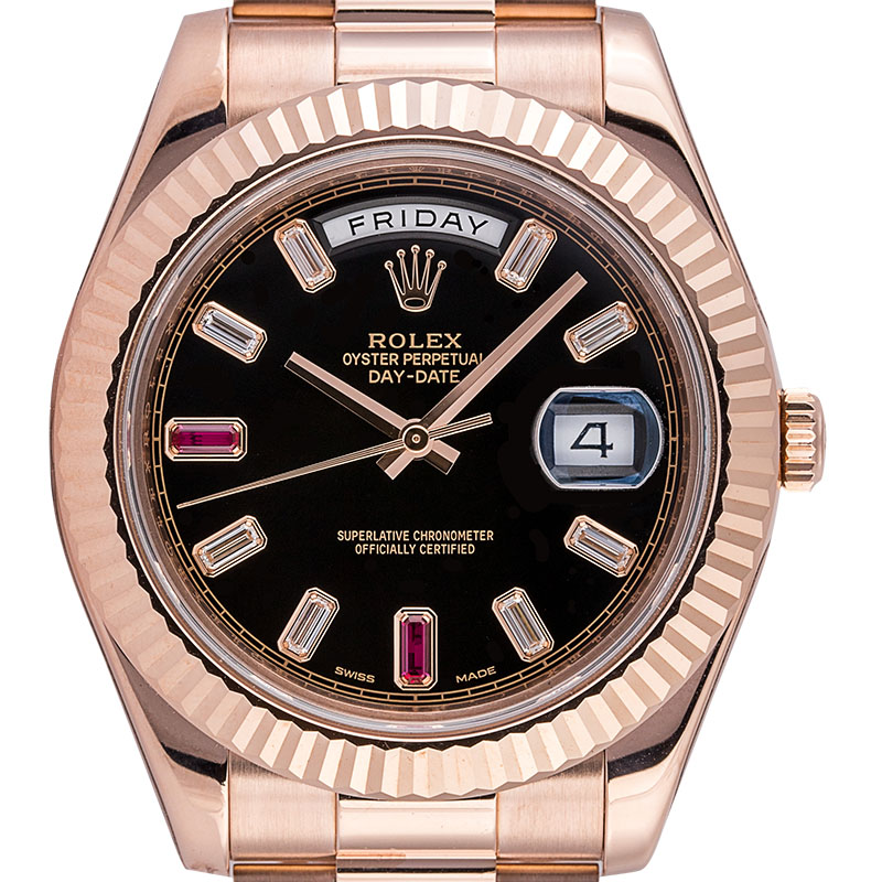 Rolex Day-Date II 18ct Everose Gold Black Dial with Diamonds and Rubies 218235