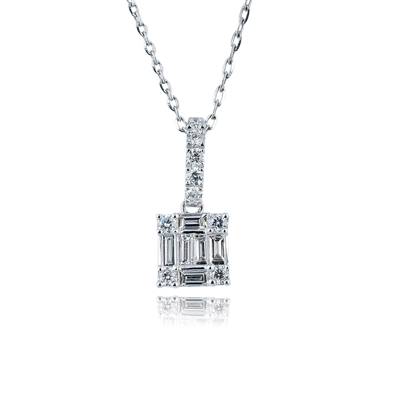 Custom Diamond Set 18ct White Gold Necklace