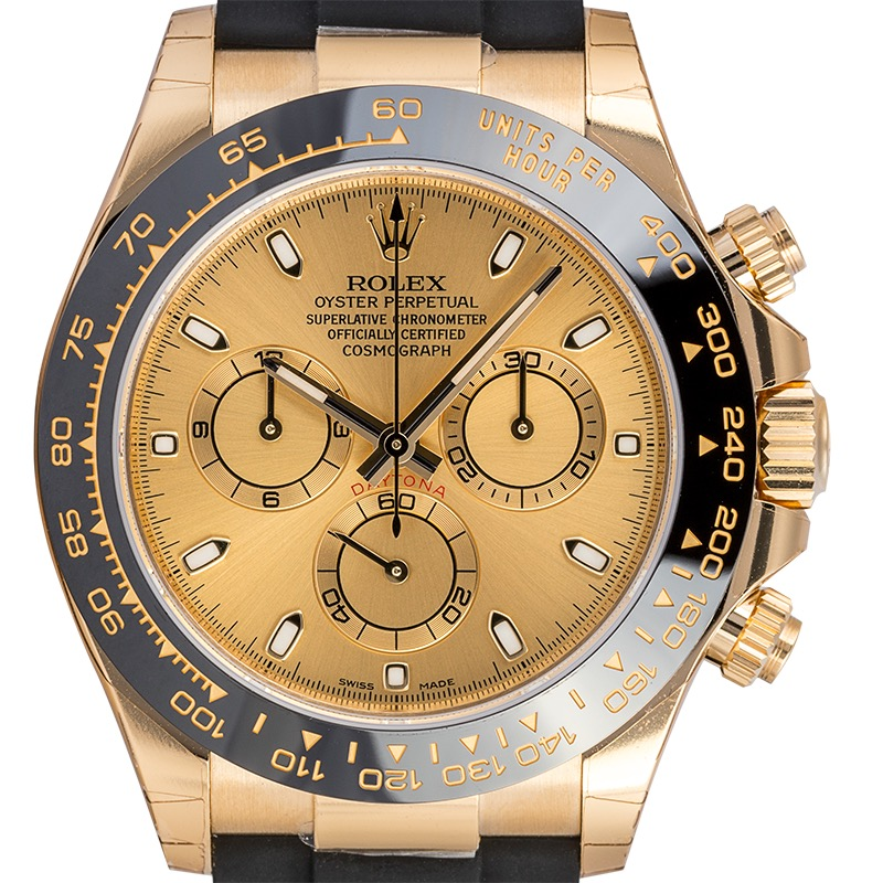 Rolex Daytona 18ct Yellow Gold Champagne Dial Rubber Strap 116518LN