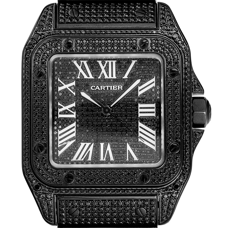 Custom Black PVD Diamond Set Cartier Santos 100 Large W20073X8