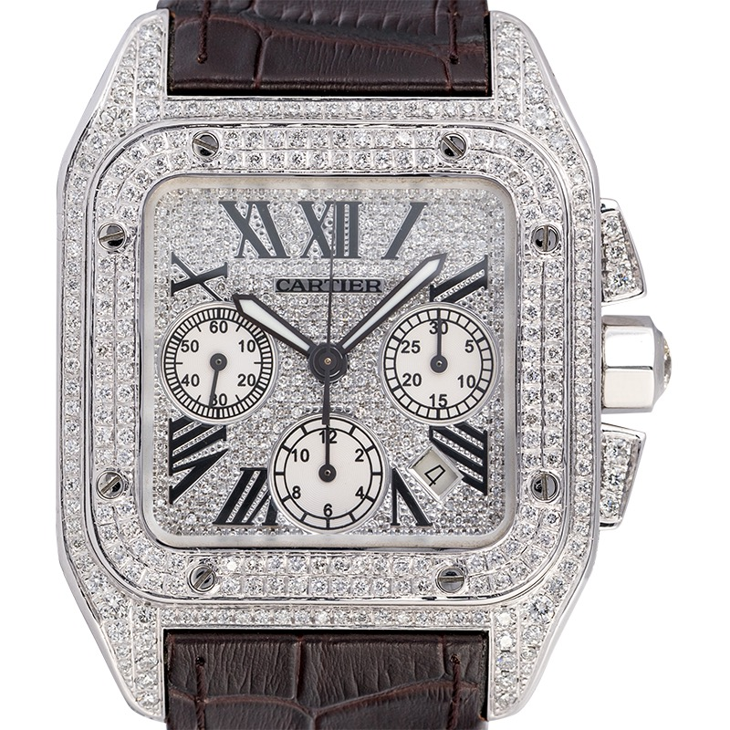 Cartier Santos 100 XL Chronograph Custom Diamond Set Brown Strap W20090X8