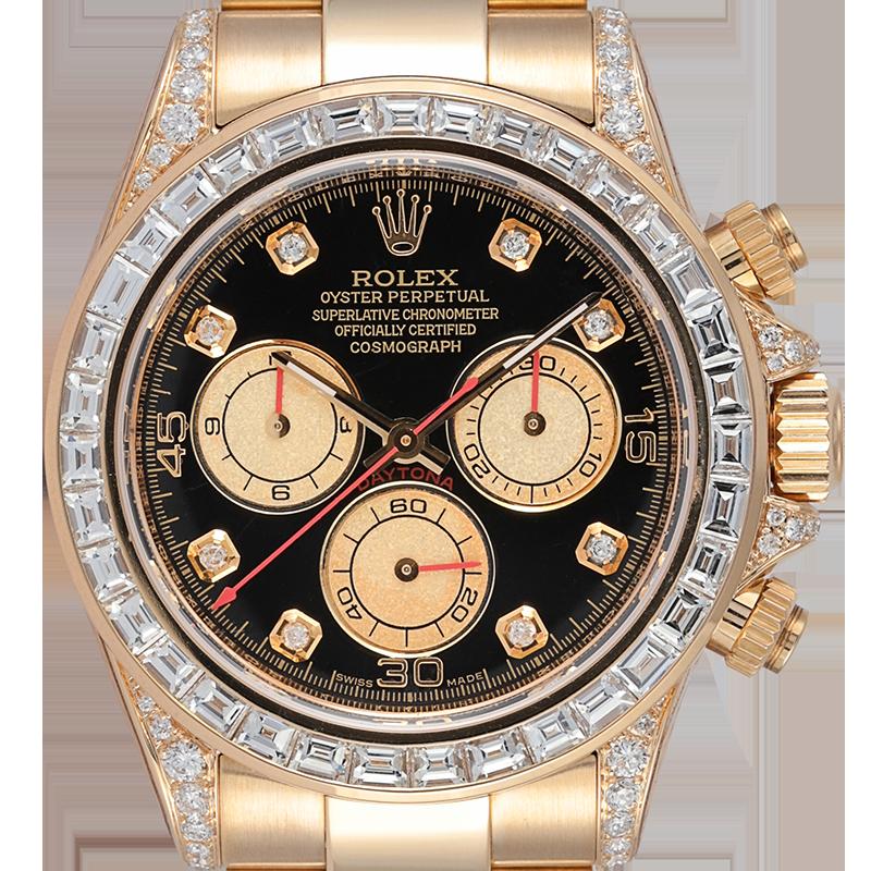 Rolex Daytona 18ct Yellow Gold Diamond Set with Custom Baguette-Cut Diamond Bezel 116528