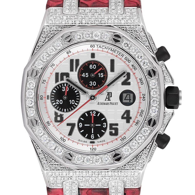 Audemars Piguet Royal Oak Offshore 42mm Diamond Set with Red Python Strap 26170ST.OO.1000ST.01