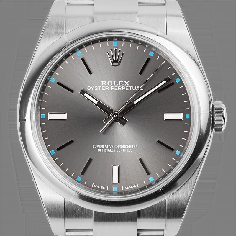 Rolex Oyster Perpetual 39 Steel Dark Rhodium Dial Oyster 114300