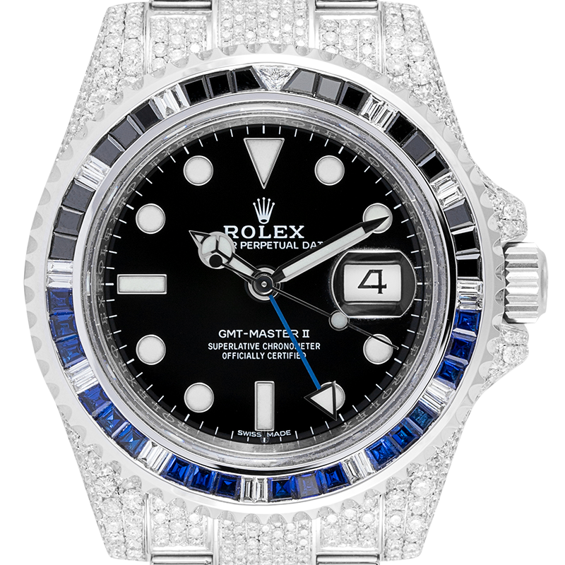 Rolex GMT-Master II Stainless Steel Micro Diamond Set with Custom Black/Blue Bezel 116710LN