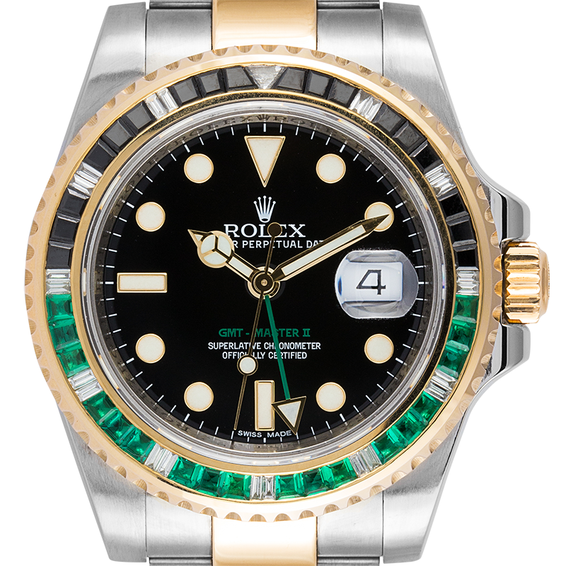 Rolex GMT-Master II Steel and Yellow Gold with custom Black/Green bezel 116713LN