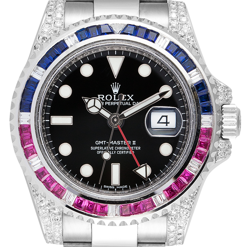 Rolex GMT-Master II 18ct White Gold with Custom Pepsi Bezel 116719BLRO