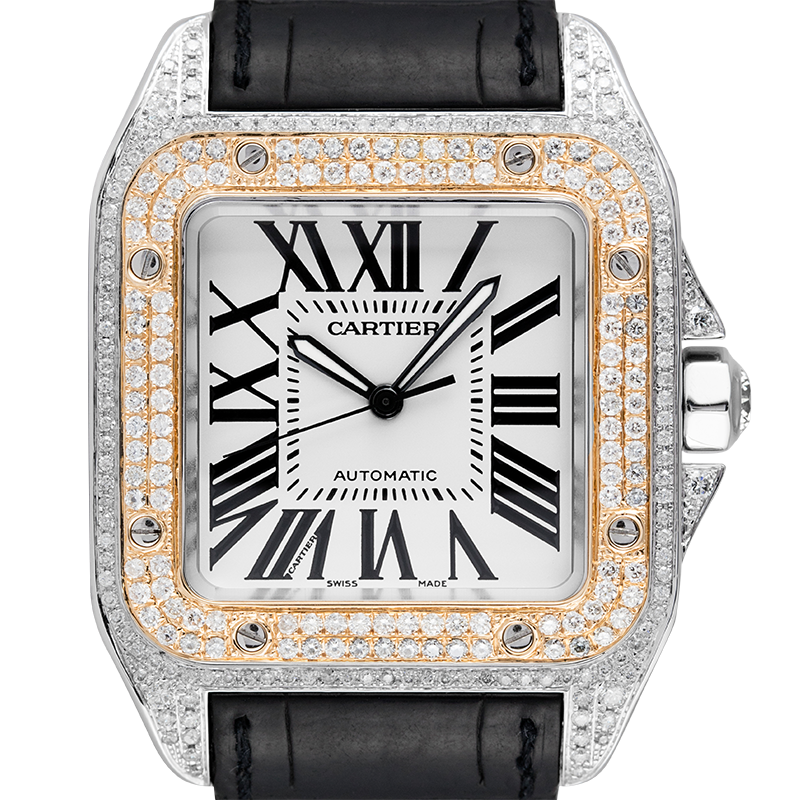 Cartier Santos 100 L Gold Bezel Diamond Set W20091X7