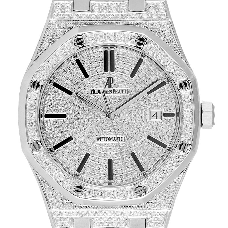 Audemars Piguet Royal Oak Full Diamond Set Custom Watch 15400ST.OO.1220ST.02