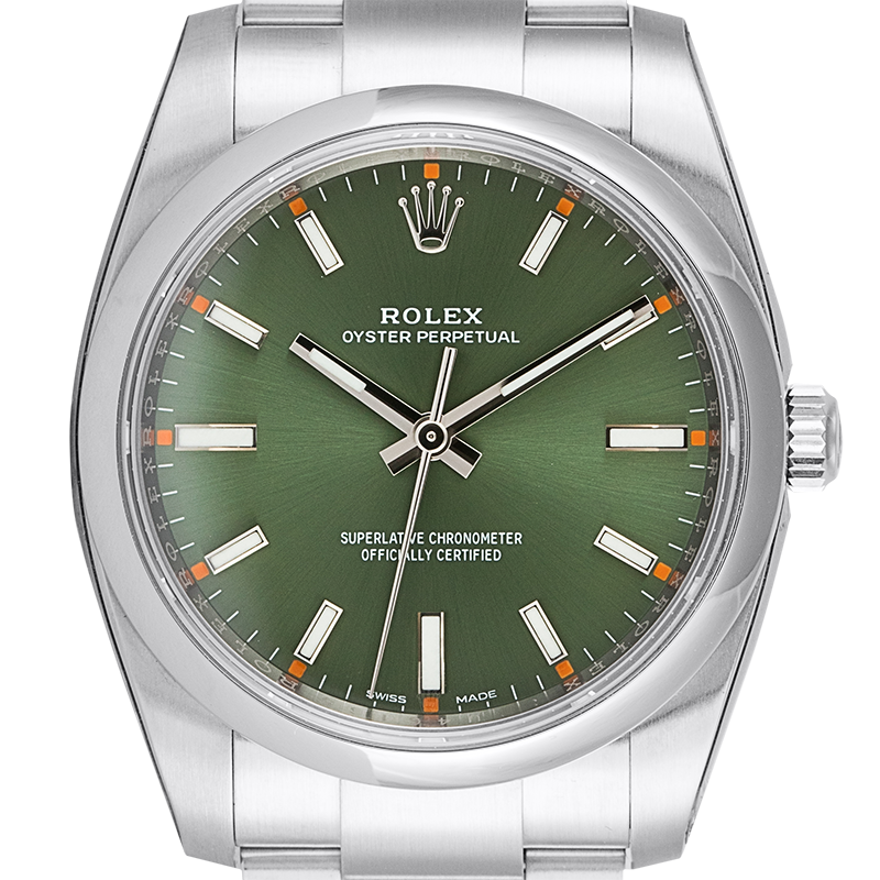 Rolex Oyster Perpetual 34 Stainless Steel Olive Green Dial 114200