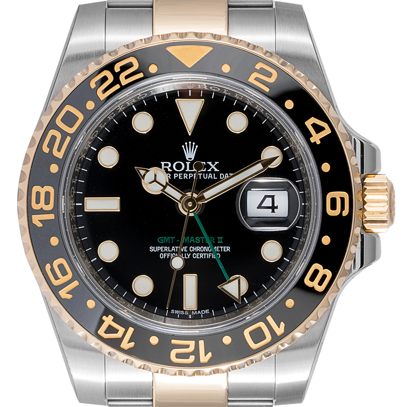 Rolex GMT-Master II Stainless Steel and 18ct Yellow Gold Black Dial 116713LN