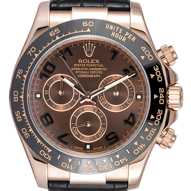 Rolex Cosmograph Daytona Rose Gold Chocolate Arab Leather 116515LN