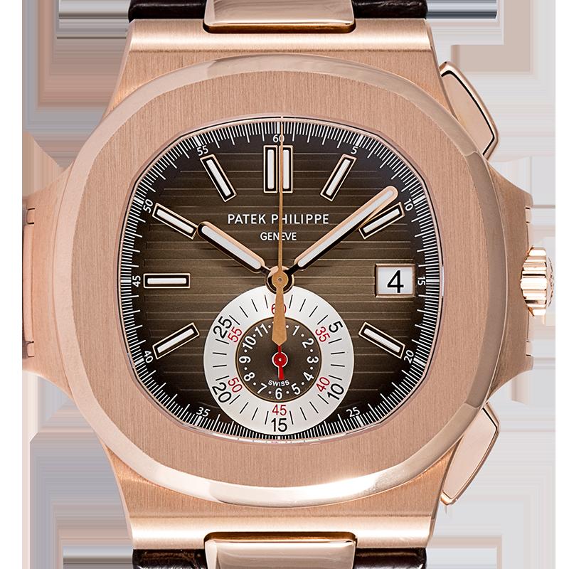 Patek Philippe Nautilus Rose Gold & Leather 5980R-001