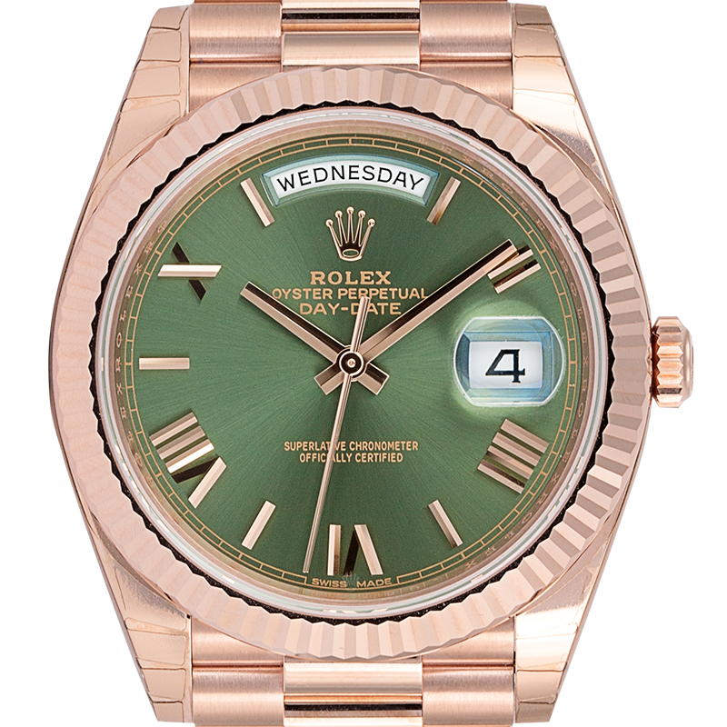 Rolex Day-Date 40 Everose Gold Olive Green/Roman President 228235