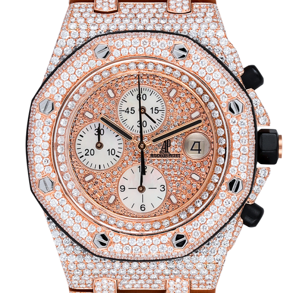 Audemars Piguet Royal Oak Offshore Rose Gold Full Diamond Set with Diamond Pave Dial 26470OR.OO.1000OR.01
