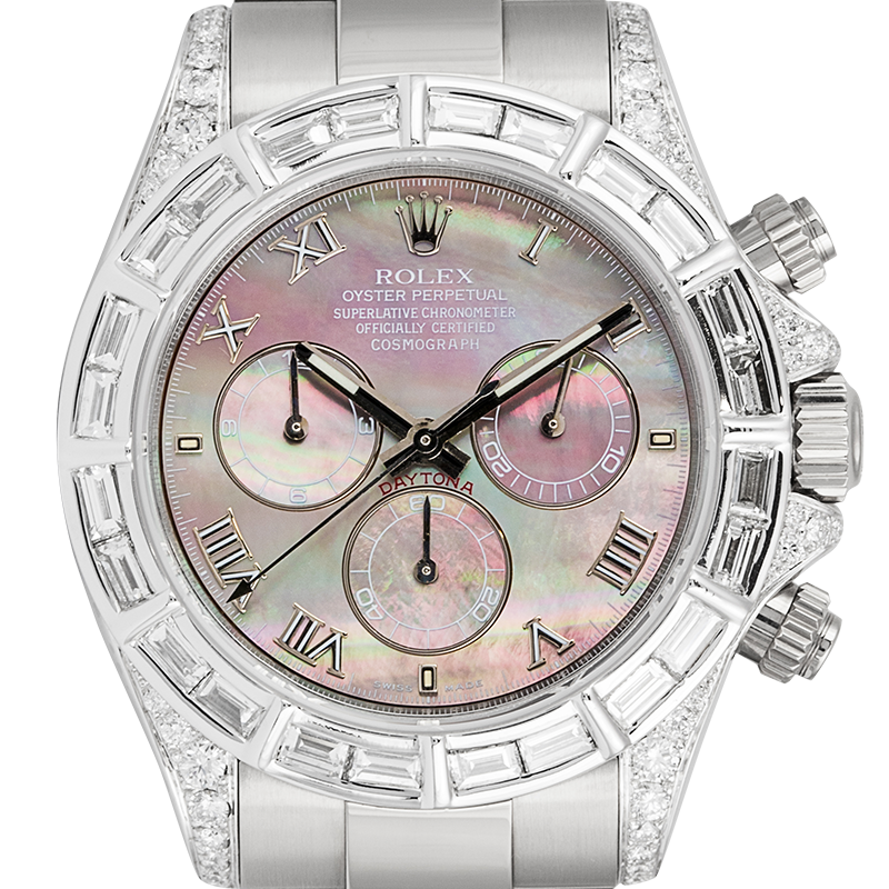 Rolex Daytona 18ct White Gold Diamond Set Tahiti Mother of Pearl Dial 116509