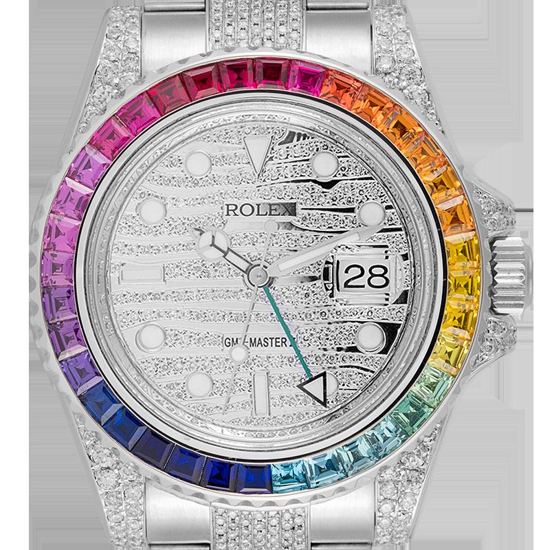 Rolex GMT-Master II Steel Diamond Set with custom Rainbow Bezel 116710LN