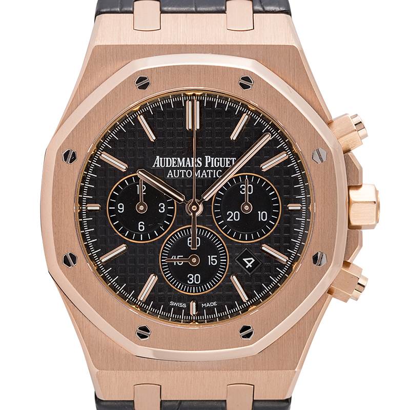 Audemars Piguet Royal Oak Chronograph Rose Gold 41mm Black Leather Strap 26320OR.OO.D002CR.01