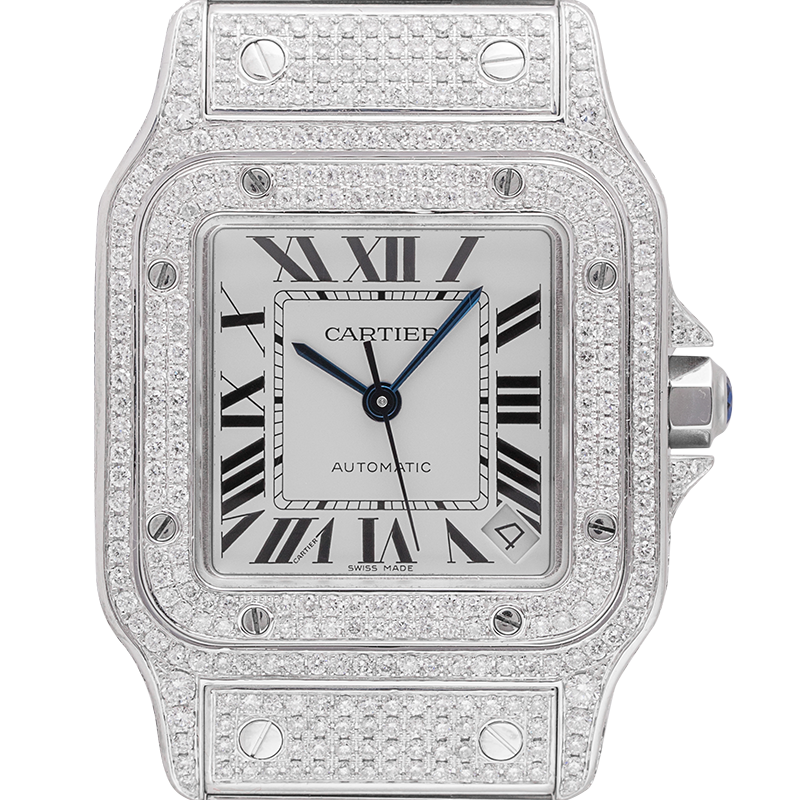 Cartier Santos Galbee Custom Diamond Set W20098DX