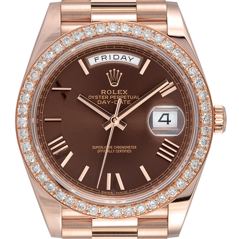 Rolex Day-Date 40 18ct Everose Gold with Custom Bezel 228235