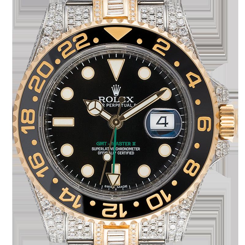 Rolex GMT-Master II 904L Steel and 18ct Yellow Gold Custom Diamond Set 116713LN