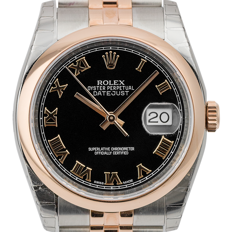 Rolex DateJust 36mm Steel and Rose Gold Black/Roman 116201