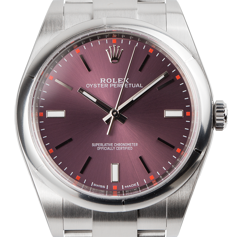Rolex Oyster Perpetual 39 Steel Red Grape Dial Oyster 114300