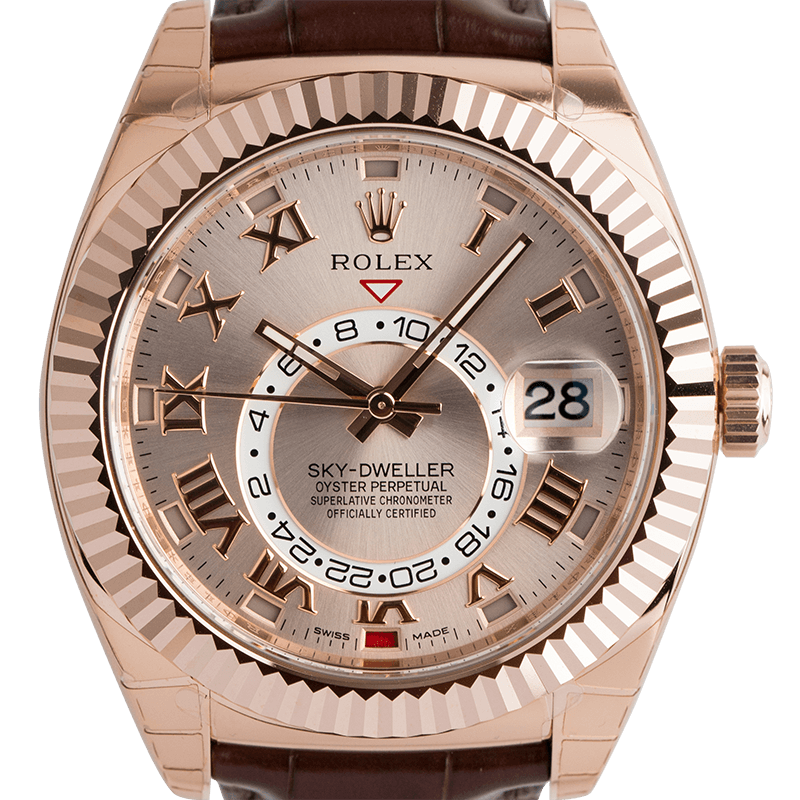 Rolex Sky-Dweller Rose Gold Sundust Alligator Strap 326135