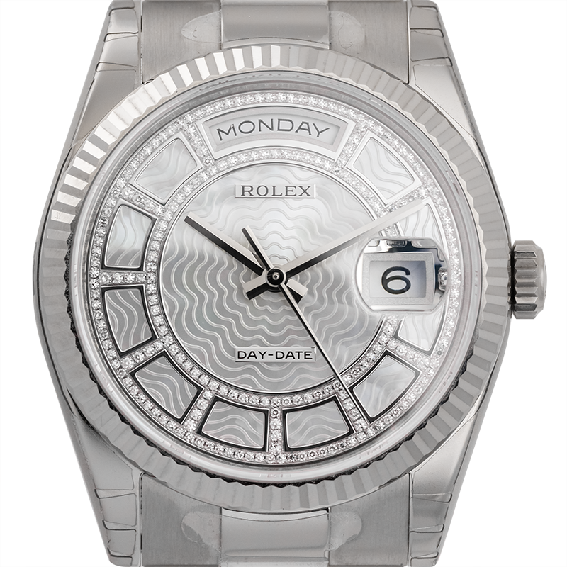 Rolex Day-Date 36 White Gold White Carousel Dial 118239