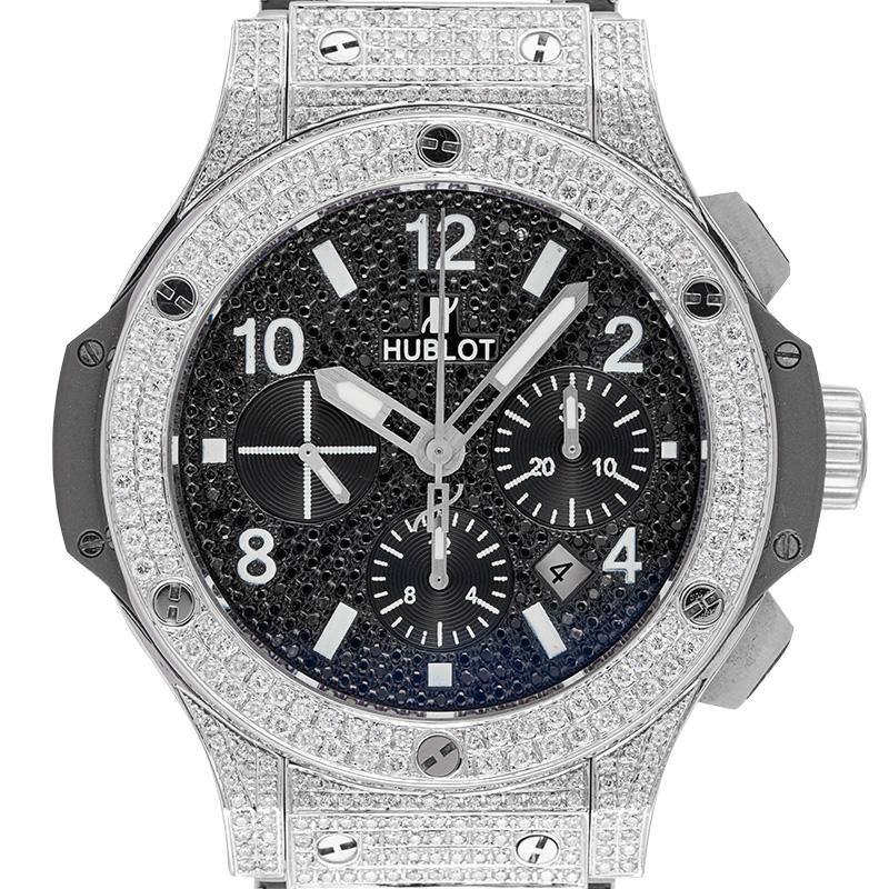 Hublot Big Bang Chronograph Full Diamond Set with Custom Black Dial 301.SX.1170.SX