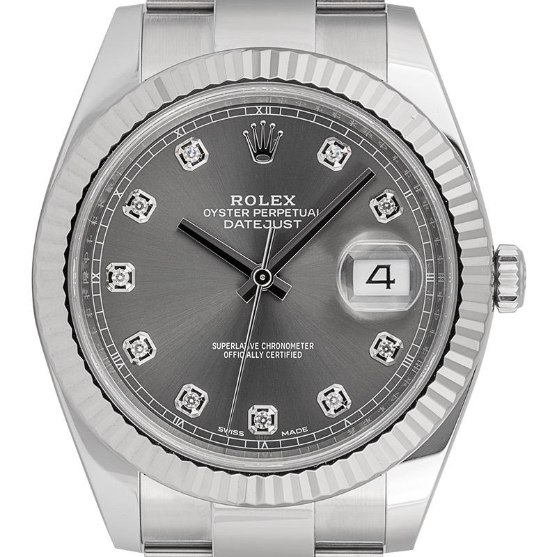 Rolex Datejust 41 Rolesor Dark Rhodium/Diamonds Oyster 126334
