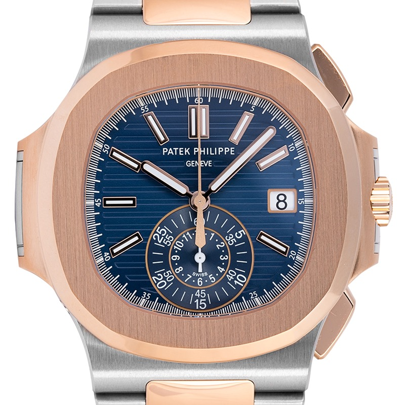 Patek Philippe Nautilus Stainless Steel & Rose Gold Blue Dial 5980/1AR-001