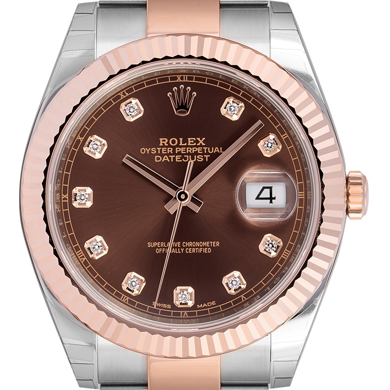 Rolex Datejust 41 Steel and 18ct Everose Gold Chocolate/Diamond Dial Oyster 126331
