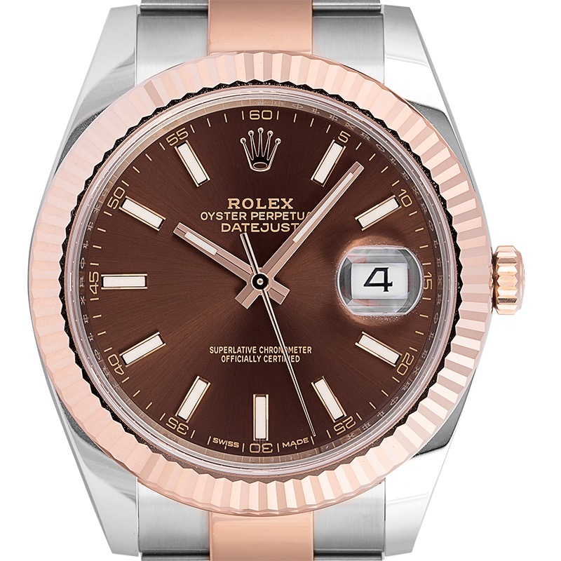 Rolex Datejust 41 Steel and 18ct Everose Gold Chocolate/Index Dial Oyster 126331