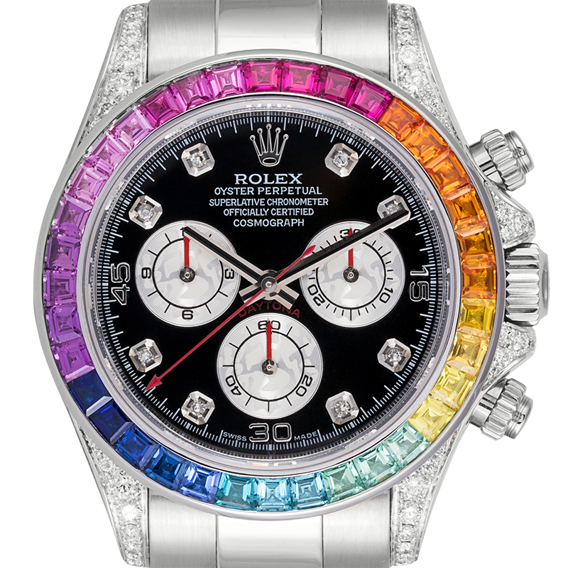 ⌚ Rolex Cosmograph Daytona White Gold Rainbow ♦Diamond Bezel 116509